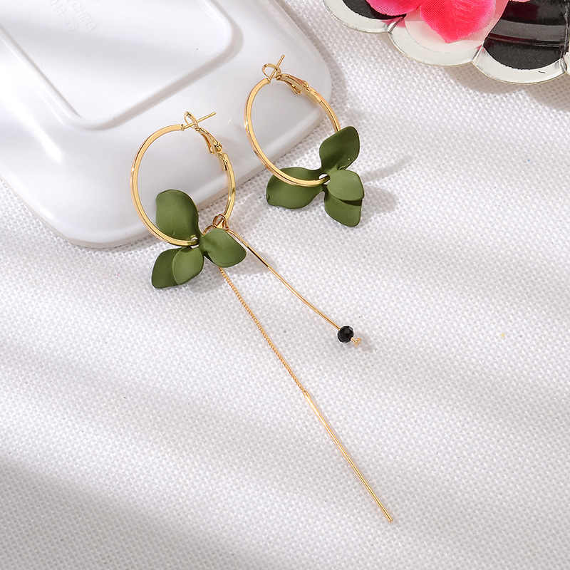 Hot sale New Korean version popular petal asymmetrical earrings Fashion personality long geometric circle tassel earrings