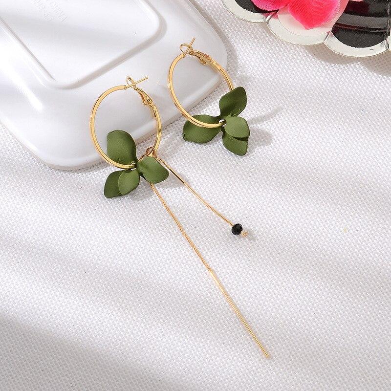 Hot sale New Korean version popular petal asymmetrical earrings Fashion personality long geometric circle tassel