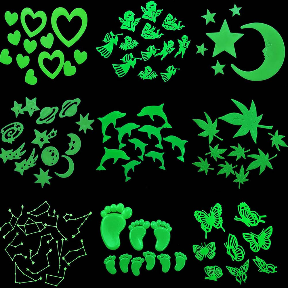 2018 Fluorescent Stickers Snowflakemoon starbutterflyUniverse Planet Star Glow Dark Luminous Paste Ceiling Decoration