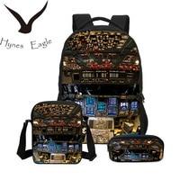 Hynes Eagle 3 PCS/SET Men Backpacks 3D Aircraft Cabin Printing Bookbag Children Shoulder Bag Canvas Backpack Boys School Bag