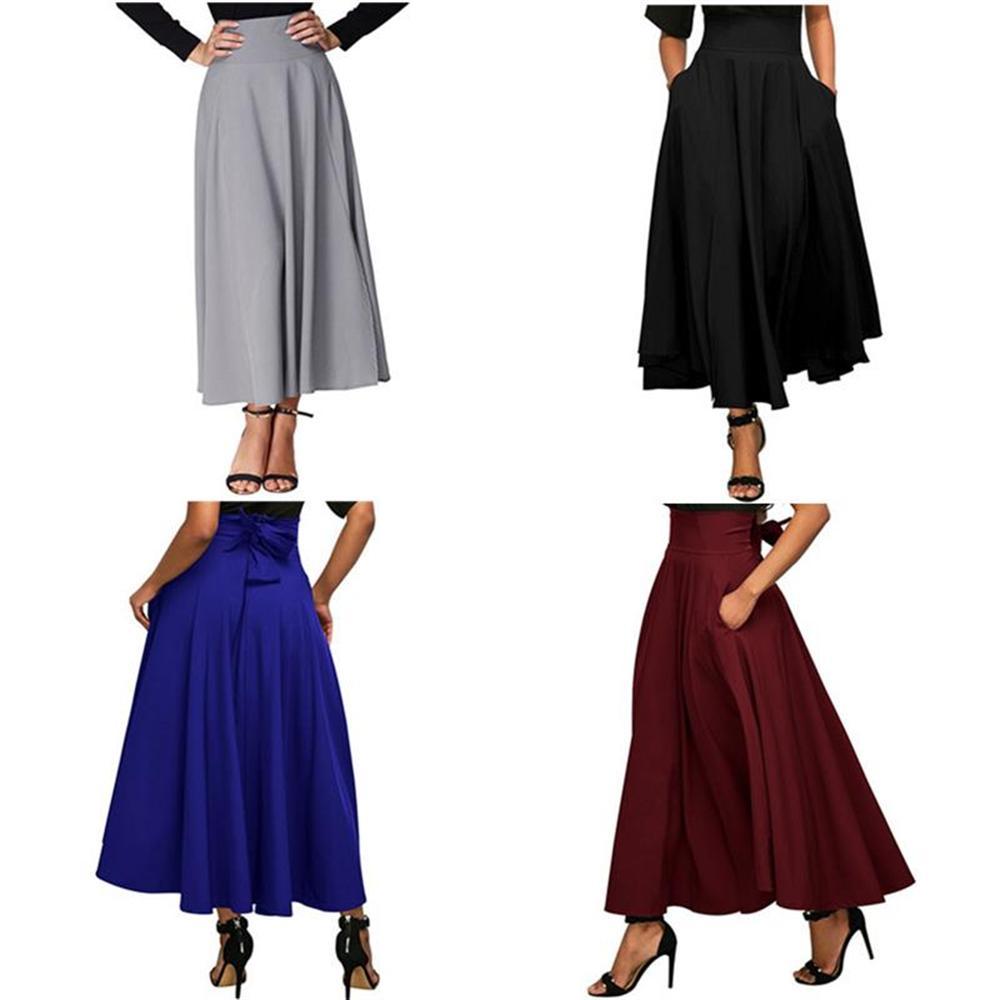 2018 Women High Waist Long Maxi Retro Pleated Skirt Plus Size Summer Side Fork Sashes Pocket Skirt Office Lady Slim Workwear alex evenings pleated side skirt black lp