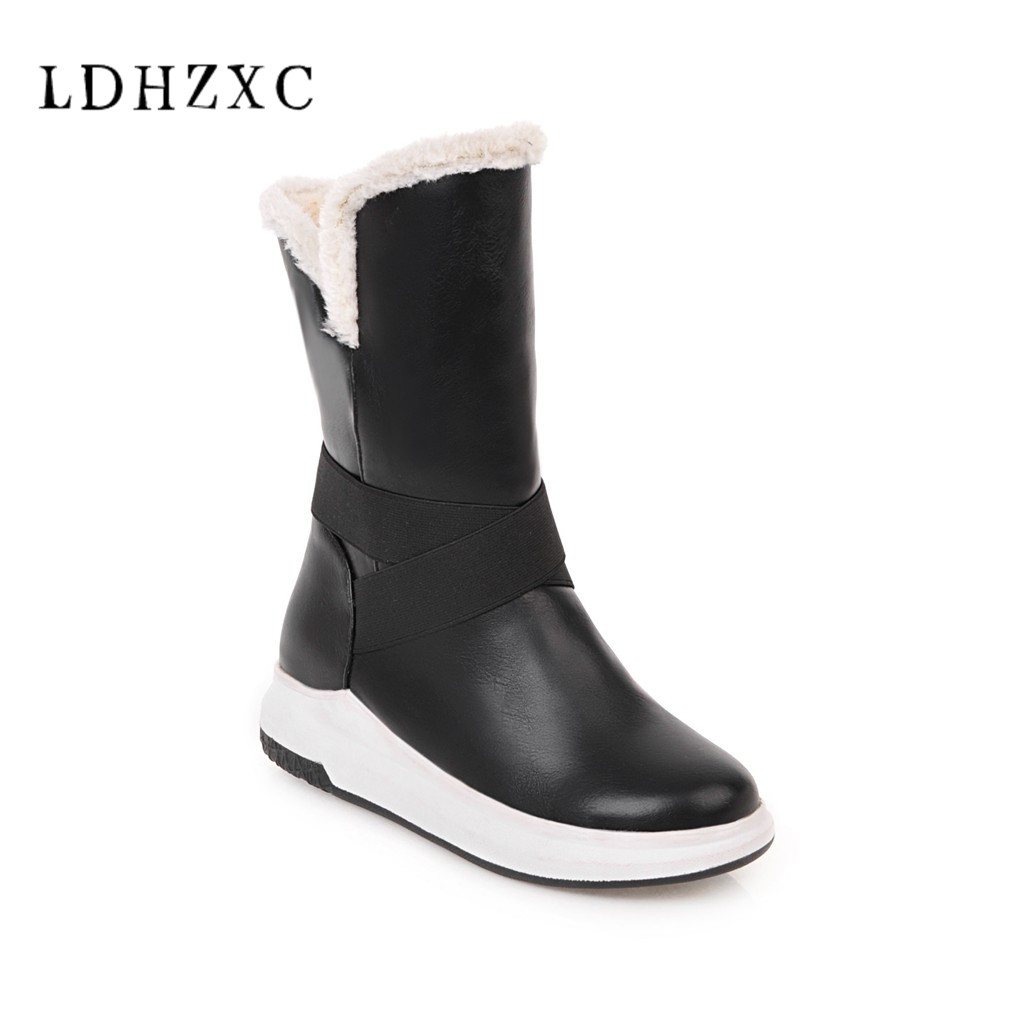 LDHZXC 2018 Large Size 34-43 Platform Hot Sale Warm Shoes Woman Snow Boots Slip On Add Fur Winter Woman Shoes Mid Calf Boots karinluna 2018 large size 33 43 hot sale platform add fur warm winter boots woman shoes woman zip up ankle boots female