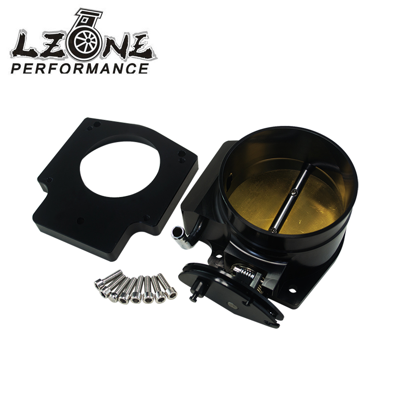 LZONE RACING - 102mm Throttle Body +Manifold Adapter Plate for LS LS2 LS3 LS6 LS7 LSX BLACK JR6938+TBS51 wlr racing 102mm throttle body drive by wire for chevrolet ls1 ls2 ls3 ls7 lsx lsxr intake manifold ls engine wlr ttb99