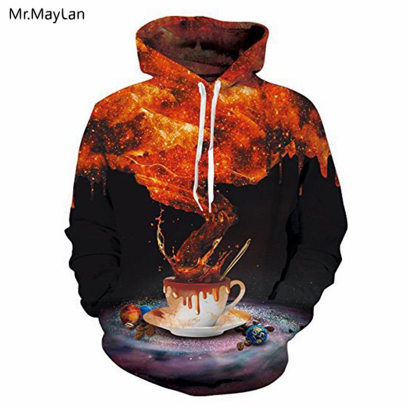 Red Graffiti A Cup of Coffee Print 3D Men/Women Hoodies Hiphop Hat Sweatshirts Coat Boys Jacket Hoddies Tracksuits Plus size 5XL
