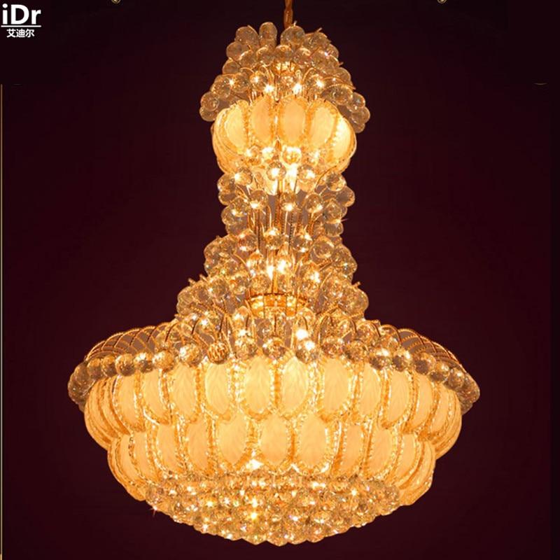 New penthouse floor lamp K9 luxury villa living room chandelier lamp headlight Engineering gold Chandeliers Lmy-0154