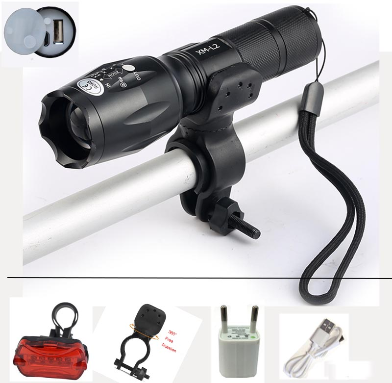 USB Flashlight 8000 Lumens LED CREE XM-T6 L2  front Torch Bicycle Light cycling lamp USB Charger 5 Mode Bike Lamp Waterproof led 6000lumens bike bicycle light cree xml t6 led flashlight torch mount holder warning rear flash light