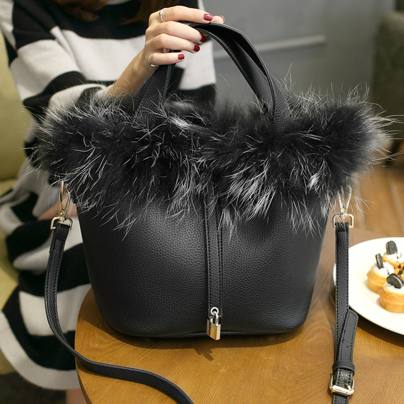 Bucket Bag Real Fur Charm Famous Brand Lock Top Handle Bags Female Fashion Designer Shoulder Luxury Rabbit Bolsas In From Luggage