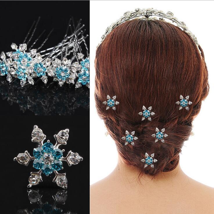 5 Pcs Lot Bleu Flocon De Neige Cristal U Pick Nuptiale De Goupilles De  Cheveux 504241f1cf33
