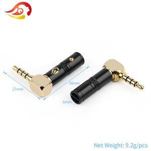 QYFANG разъем 3,5 мм аудио Jack 4 полюса наушники сращивания адаптер стерео наушники HiFi загиб 90 градусов пайки линии провода разъем
