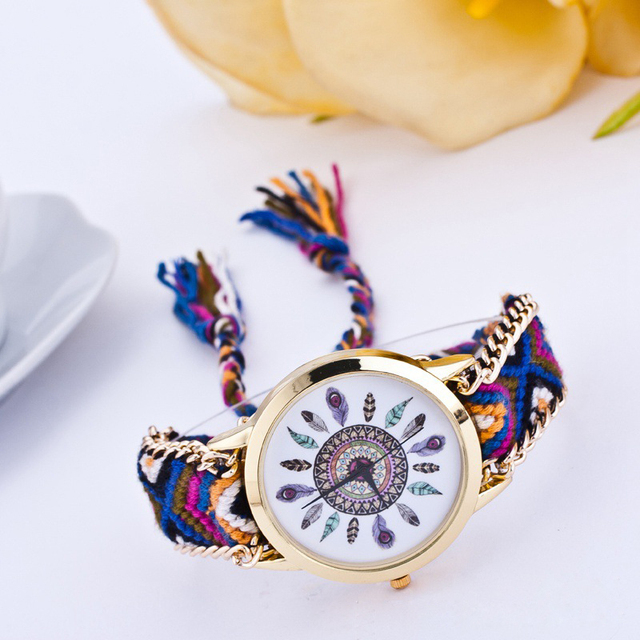 Handmade Braided Friendship Bracelet Watch New Arrival Feather HandWoven Wristwa
