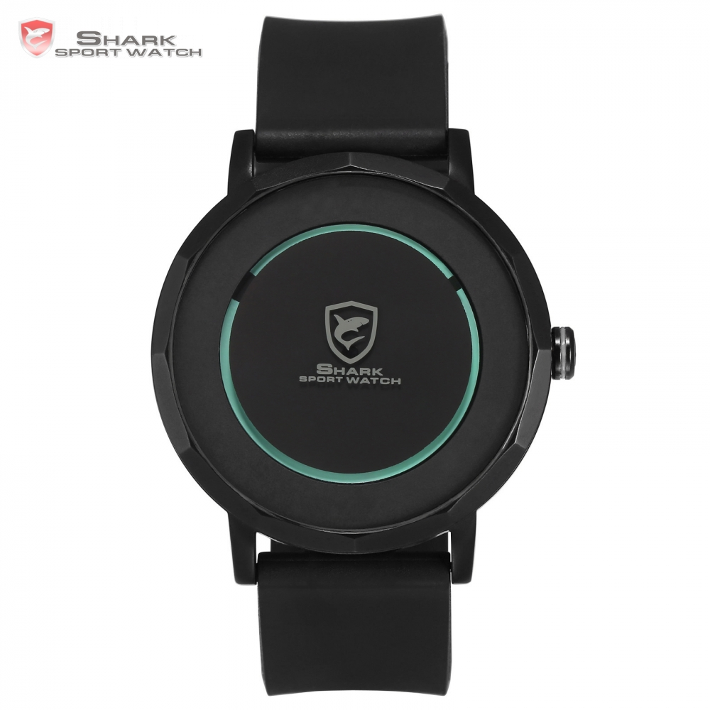 ФОТО Dusky Shark Sport Watch 2017 Designer Green Simple Circle Rotate Time Relogio Gift Box Rubber Band Men's Quartz Watches / SH511