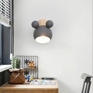 Image 2 - נורדי עץ קיר מנורות חמוד coloful קיר פמוטים מטבח מסעדה מקרון המיטה דקורטיבית מנורת E27
