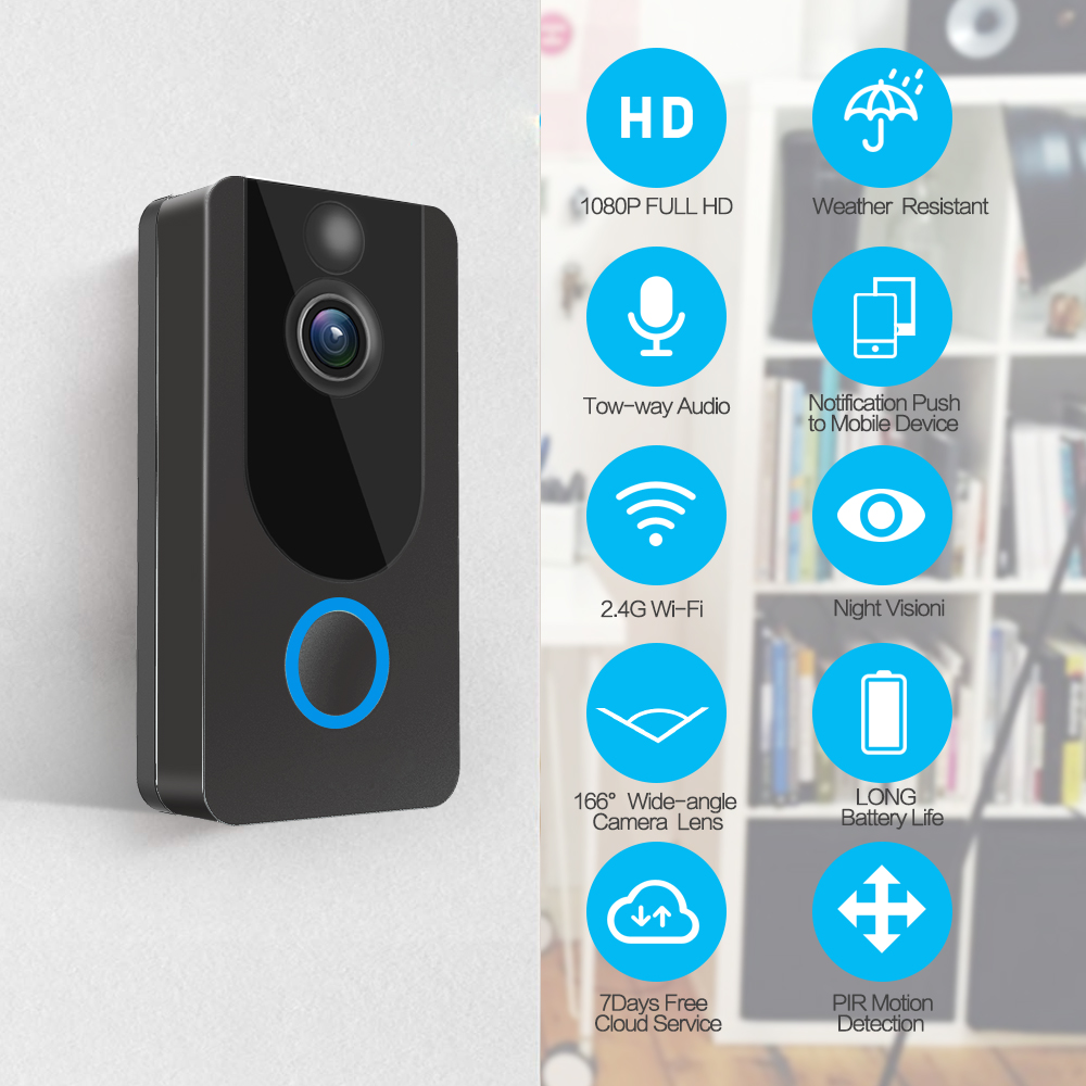 Image 2 - GEEKAM 1080P WiFi Video Doorbell V7 Smart IP Video Intercom Free Cloud Recording For Apartment IR Alarm Wireless Security Camera-in Doorbell from Security & Protection