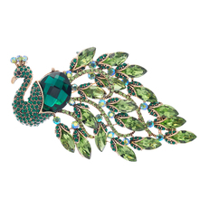 Crystals Peacock Brooch