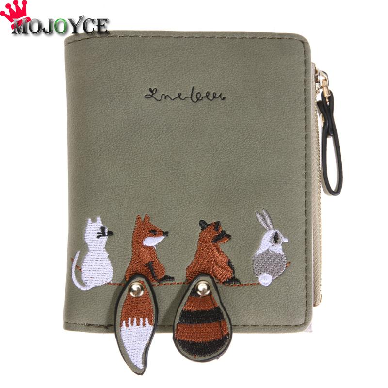 Lovely Cartoon Fox Pattern Wallet Short Section Zipper Wallet Multi-bit Fashion PU Leather High Capacity Women Wallet youyou mouse fashion cute wallet cartoon embroidery pattern retro purse short section pu leather 2 fold multi card bit wallets