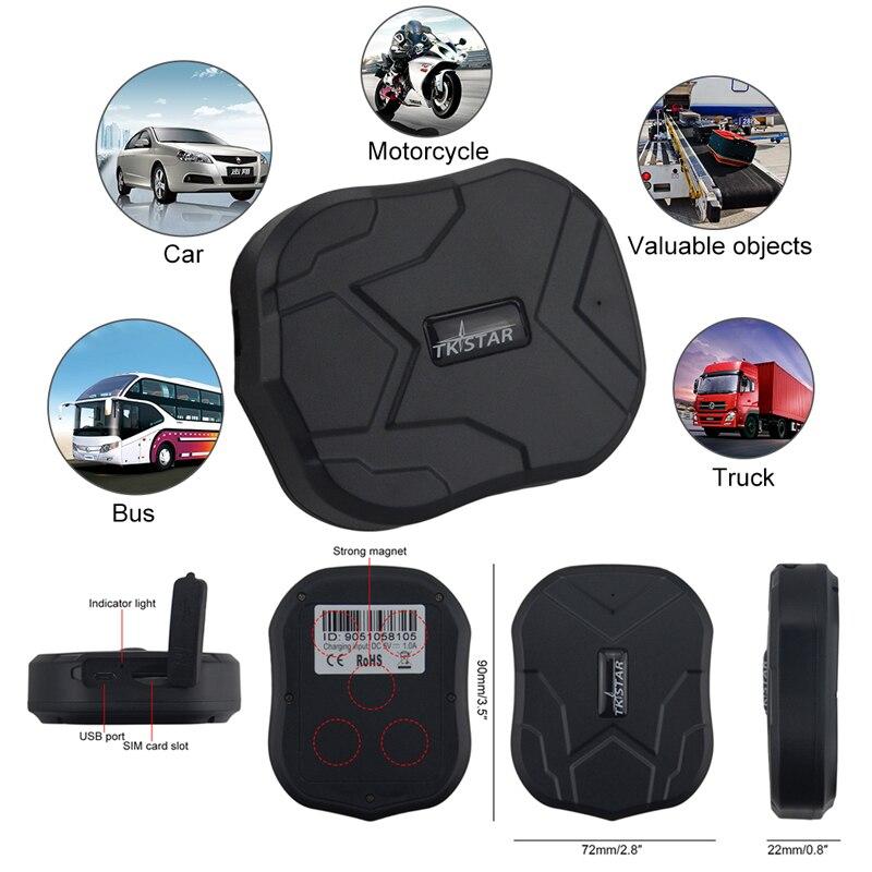 2G Tk905 véhicule GPS Tracker voiture moto étanche aimants GPS Tracker 5000mAh batterie Rastreador veiculaire GPS GSM Tracker