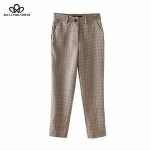 Image 1 - Bella Philosophy Spring Plaid Pants Women Casual High Waist Long Pants Female Zipper Office Lady check Pants Bottoms