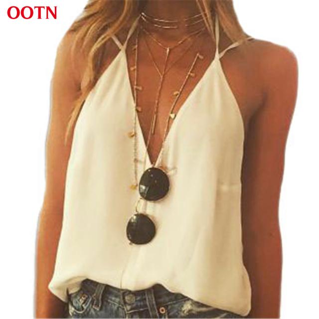 Ootn bx1503 v correa de cuello tops mujeres algodón casual crop top 2017 del desgaste del verano sólido breve blanco ladies clothing