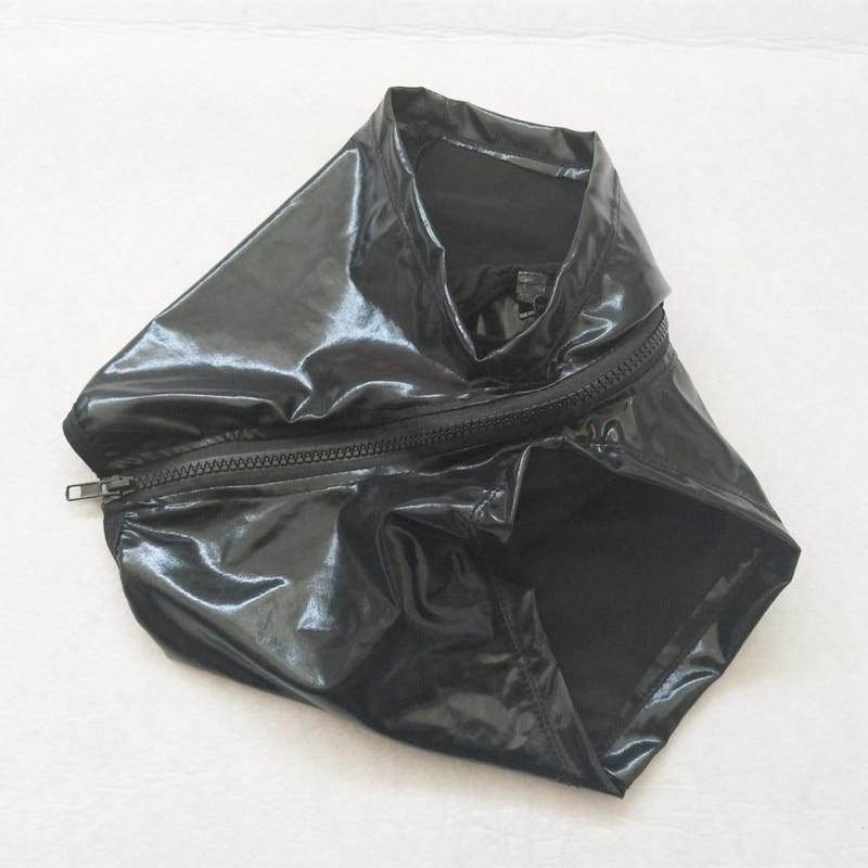 Для мужчин двойная молния Сексуальные трусы-брифы боксерские шорты для геев, одежда для сна, Искусственная кожа мужской Эротические Секс Флирт костюм для нижнего белья