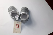 New Silver Bling Bling Pu Leather Baby Shoes