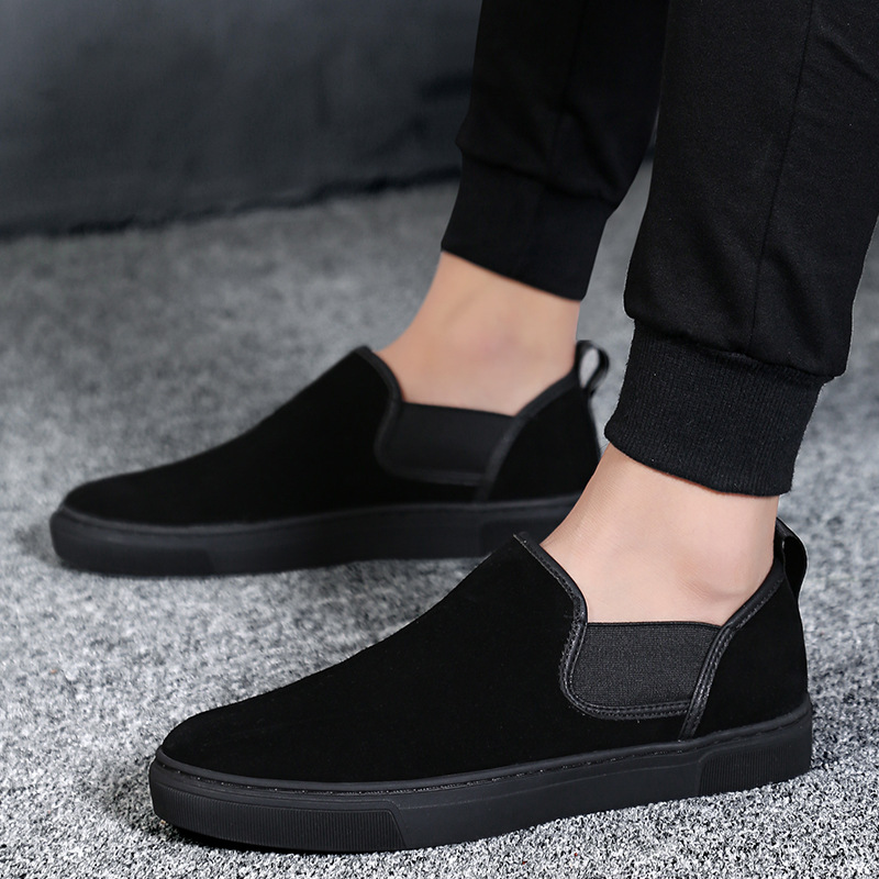2017 New Autumn/Winter Men Shoes Suede Casual Shoes Men Sneakers Low Men Loafers Slip on High Quality Black Warm Men's Shoes top brand high quality genuine leather casual men shoes cow suede comfortable loafers soft breathable shoes men flats warm