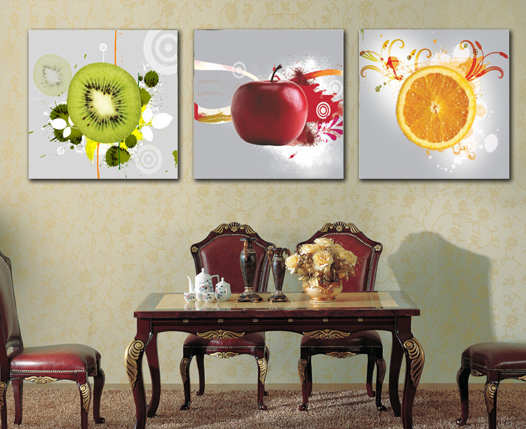 3 pi ce mur art d coratif photo fruit apple orange imprim for Decoration maison aliexpress