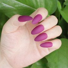 24pcs/set Matte Stiletto False Nails Pointed Sharp Candy Red Purple Black Nude Fake Nails Art for daily wear On the Nail Tree(China)