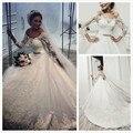 Vestido de noiva três mangas trimestre de casamento vestidos A linha Bateau faixa frisada tribunal trem Lace Vestido de noiva vestidos de noiva