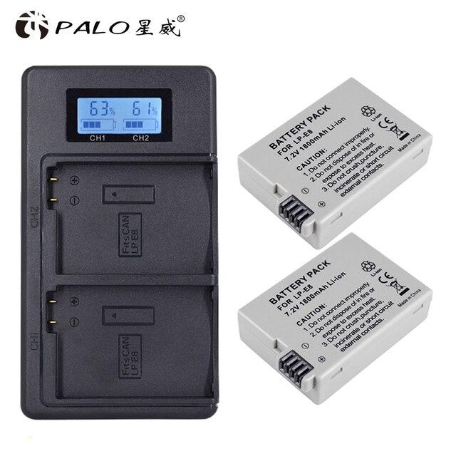 PALO 2 uds 1800mah LP E8 LPE8 LP E8 batería AKKU + LCD cargador Dual para Canon EOS 550D 600D 650D 700D X4 X5 X6i X7i T2i