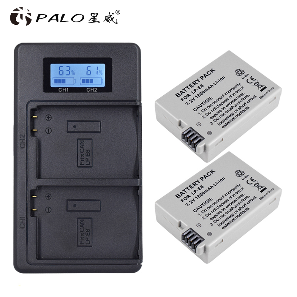 PALO 2Pcs 1800mah LP E8 LPE8 LP E8 Battery Batterie AKKU + LCD Dual Charger for Canon EOS 550D 600D 650D 700D X4 X5 X6i X7i T2i-in Digital Batteries from Consumer Electronics