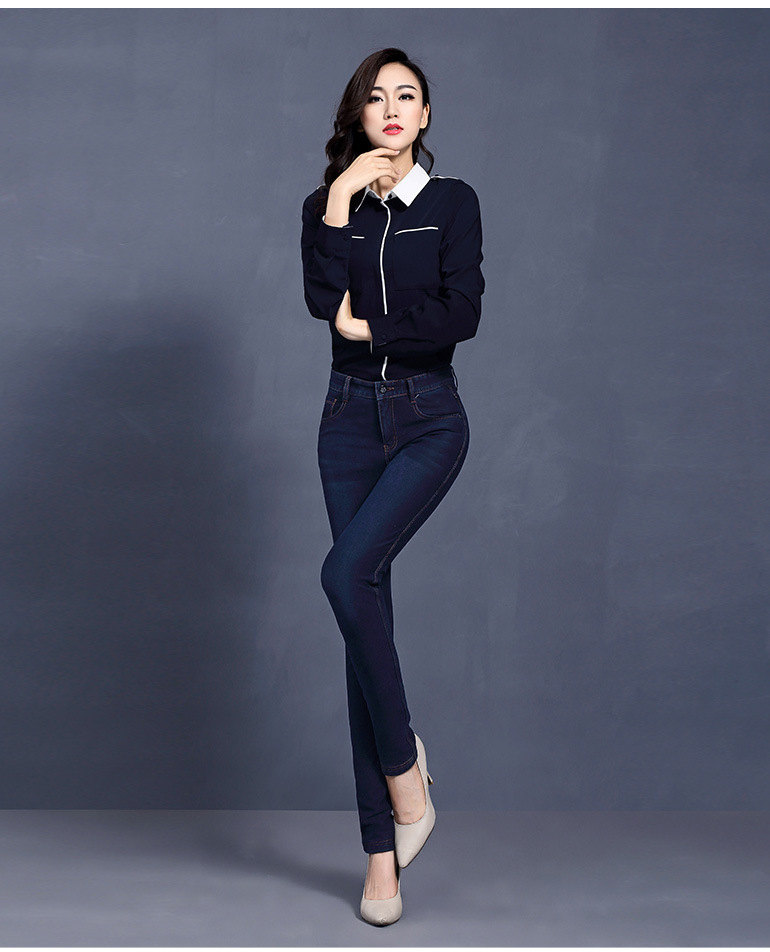 Lápiz Color Skinny Alta Pantalones As Slim Casual Jeans Vintage Otoño Shown Calidad Bolsillos Denim Terciopelo color Shown Vaqueros Mujer Elasticidad Invierno De YTqBnPfFT
