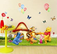 Winnie Pooh Animal Cartoon Removable Kids Wall Stickers Float Mural PVC 3D Design Home Decor Room Decals Child Wallpaper Sticker(China)