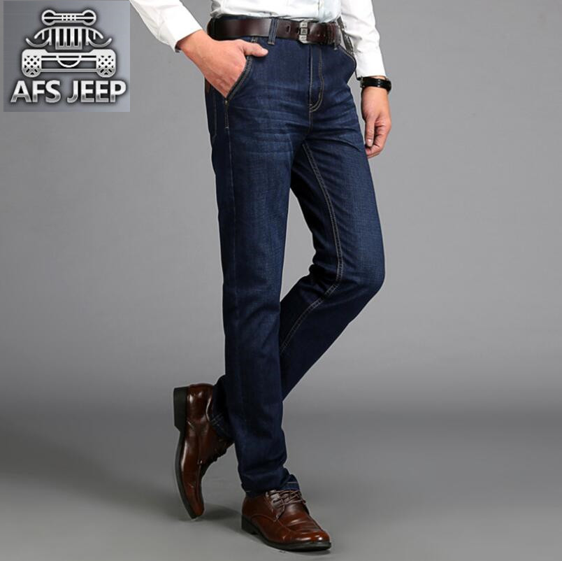 Plus Size 42 Men Denim Jeans New 2017 Autumn Brand AFS JEEP  Loose Free Type Breathable Male Casual Clothing pantacourt homme afs jeep autumn jeans mens straight denim trousers loose plus size 42 cowboy jeans male man clothing men casual botton