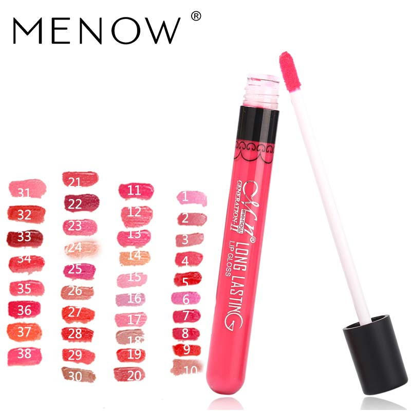 Menow Brand 38Color Lipgloss Matte Long Lasting Moisturizer Sexy Lip Gloss Waterproof Beauty Liquid Lipstick Cosmetic 1415