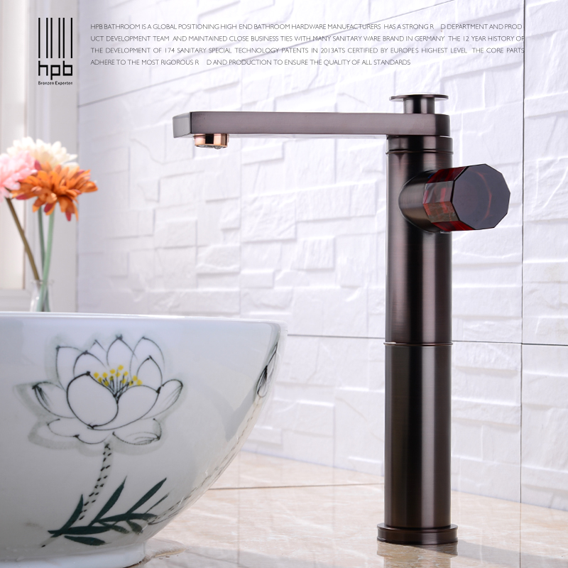 HPB Retro Brass Bathroom Basin Tall Faucet Oil Rubber Bronze Sink Mixer Exquisite Agate Handle Degisn 360 Degree Rotation H3101HPB Retro Brass Bathroom Basin Tall Faucet Oil Rubber Bronze Sink Mixer Exquisite Agate Handle Degisn 360 Degree Rotation H3101