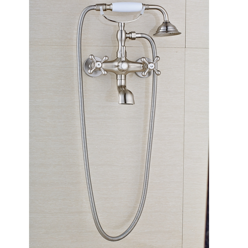 New Brushed Nickle Dual Holes Tub Shower Faucet Mixer With Ceramic Shower Hand