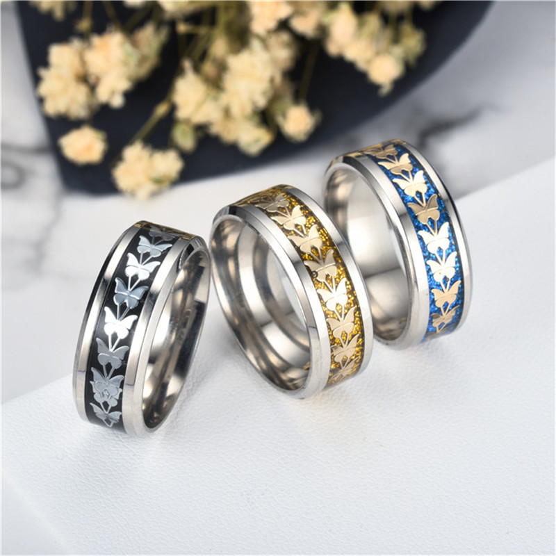 MIXMAX 20pcs finger butterfly ring men women set punk classic carving pattern 8mm wide polished Stainless Steel fashion jewelry
