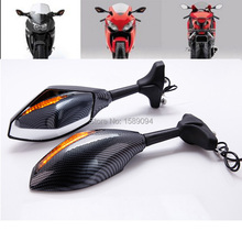 Carbon Motorcycle Turn Signal Integrated Mirrors Smoke for Kawasaki ZX6R 636 ZX10R 650R Ninja EX