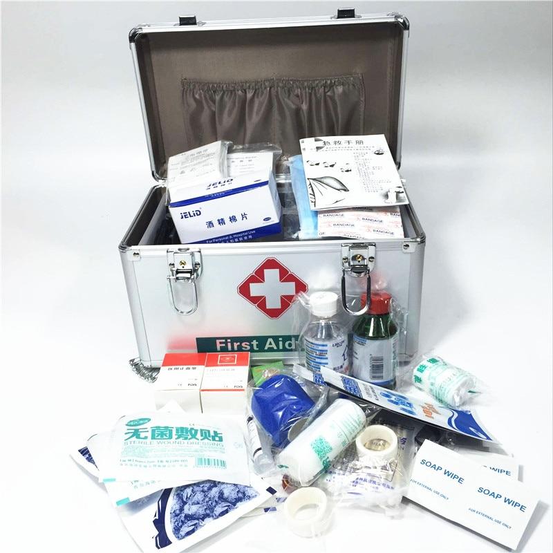 Aluminum Medical Box First Aid Kit Survival Kits Lockable Medication Organizer Lockable Emergency Medicine Storage Carrying Case