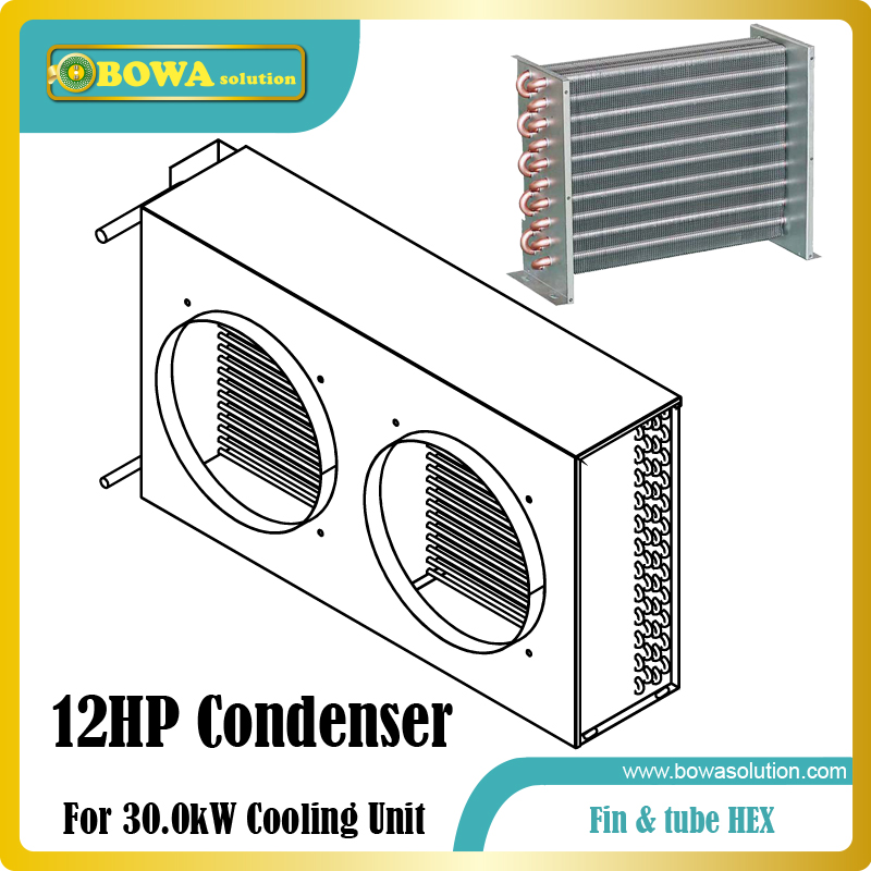 12HP fin & tube heat exchanger suitable for semi-hermetic compressor open type condensing unit  or  scroll compressor units