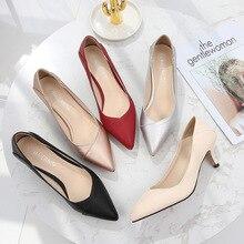 בתוספת גודל 36 46 נשים נעלי הבוהן מחודדת משאבות פטנט Pu נעליים יומיומיות חתלתול עקבים סירת נעלי חתונה נעלי zapatos דה mujer