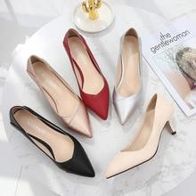 Plus rozmiar 36 46 kobiet buty Pointed Toe pompy Patent Pu obuwie Kitten obcasy buty łodzi buty ślubne zapatos de mujer