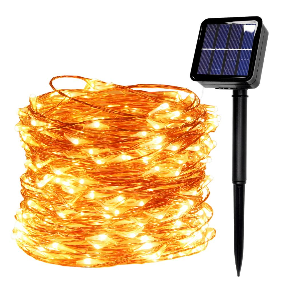 LED Outdoor Solar Lamp USB LED String Lights Fairy Holiday Christmas Solar Party Garland Solar Garden Waterproof Lights