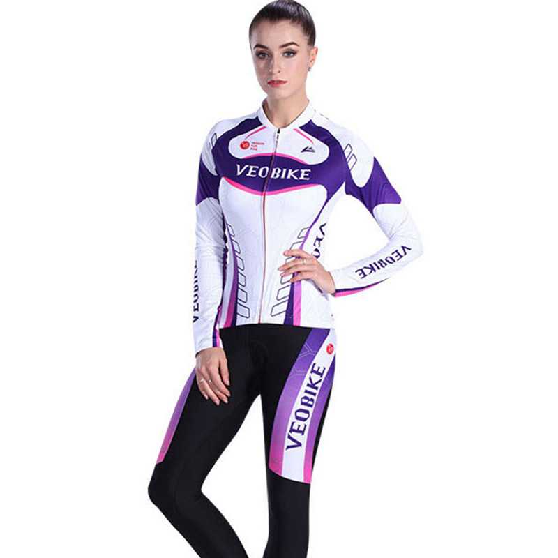 VEOBIKE 2017 Cycling Jersey Women Autumn Bicycle Long Sleeve Clothing Sets MTB Bike Clothes Roupas de Ciclismo Set For Girls
