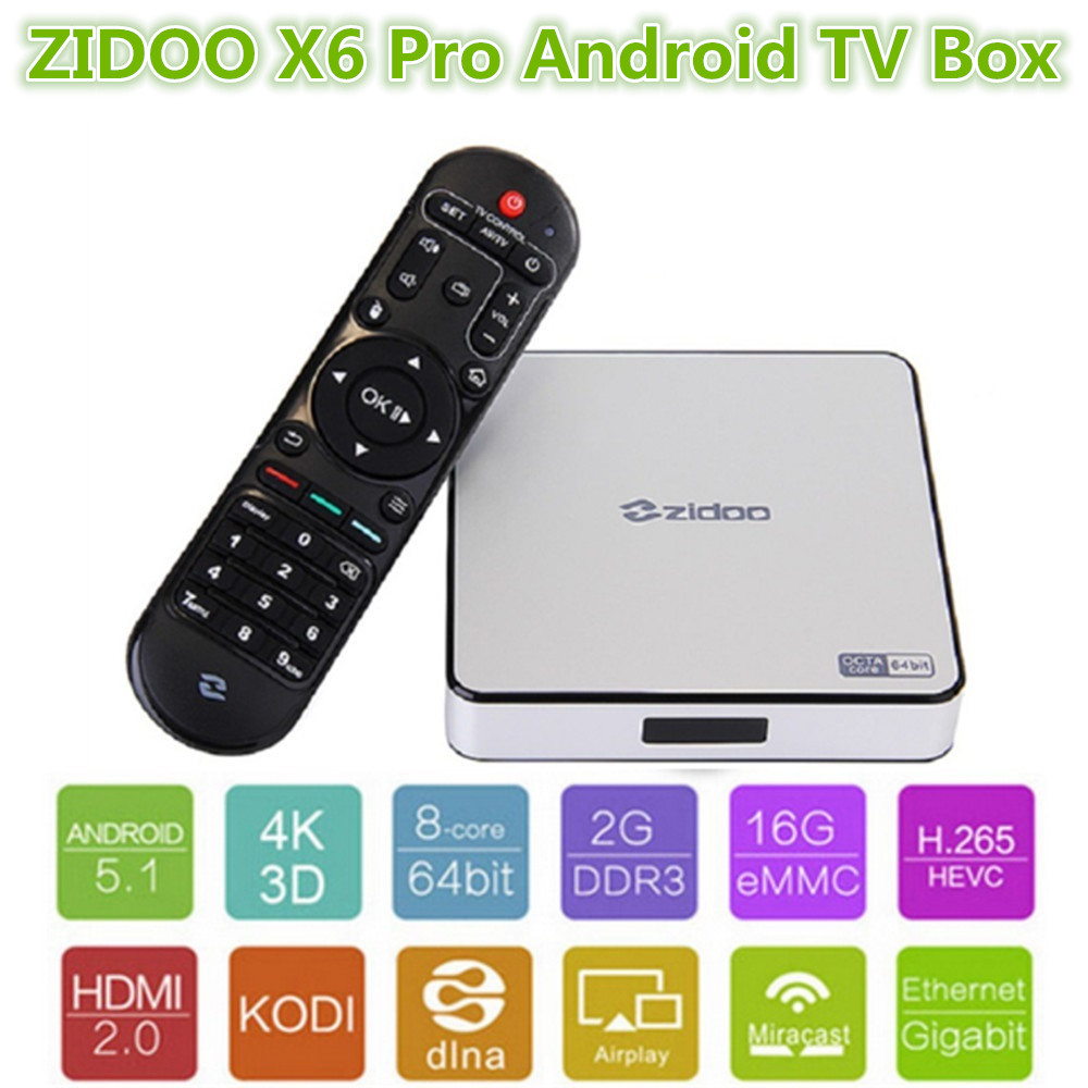Zidoo X6 Pro HD 4K*2K H.265 Smart Android TV Box RK3368 Bluetooth XBMC (KODI) 2G/16G 3D Octa Core 1000M LAN Dual WIFI