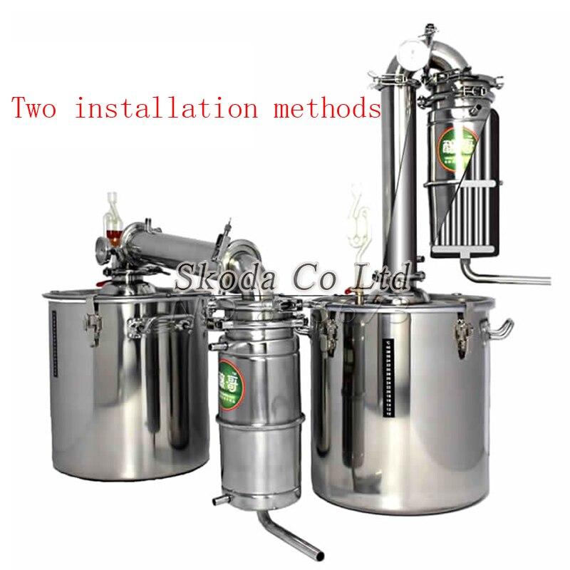 Barra de vinho equipamentos Cervejaria limbeck destilada baijiu água household hidrossol 20L álcool distiller whisky vodka criador brew