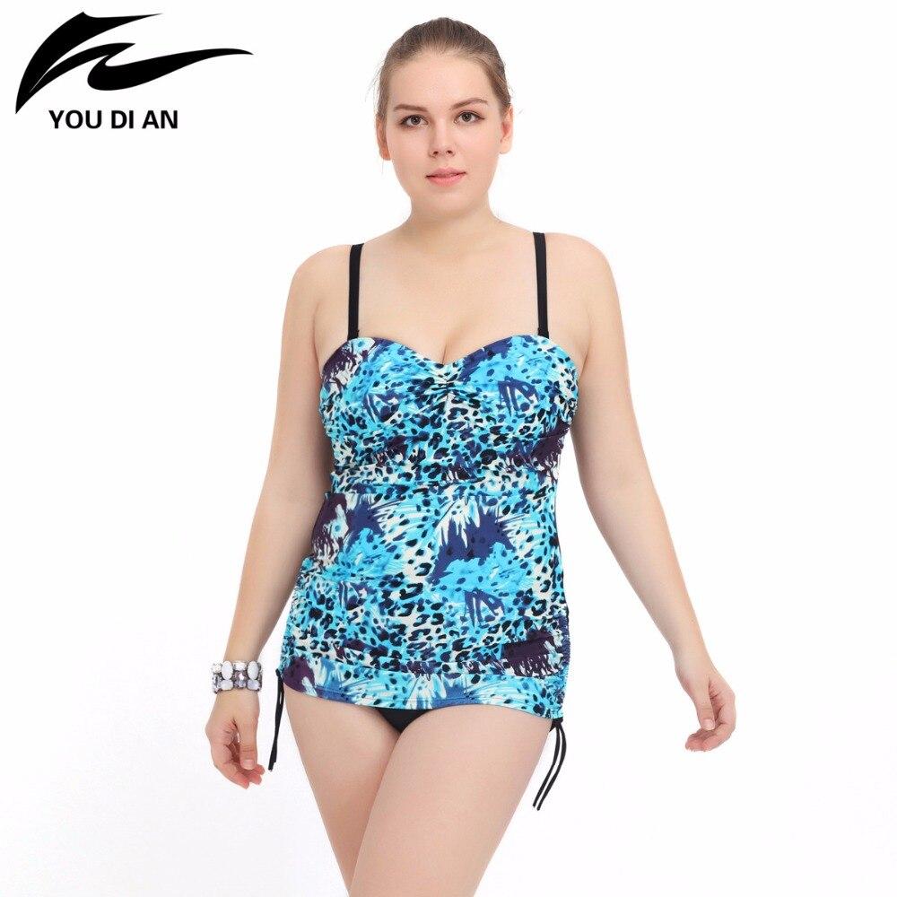 YOUDIAN Plus Size Swimwear 2017 New One Piece Swimsuit Women Bathing Suit Beachwear Padded Large Size Swim Wear Bodysuits plus size scalloped backless one piece swimsuit