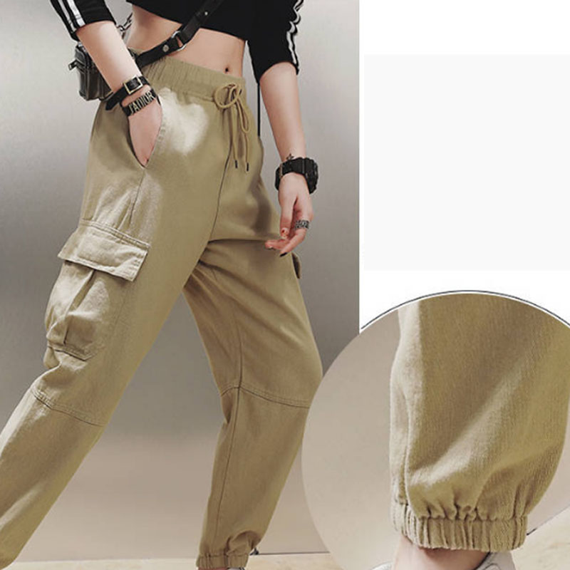 Cotton High Waist Cargo Pants 2019 Spring Pink Khaki Black Female Trousers 60