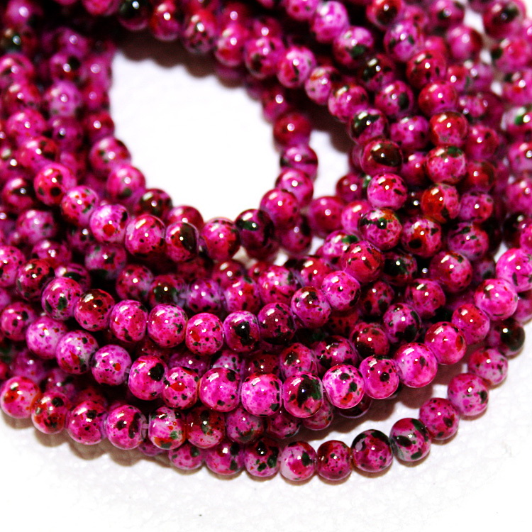 Approx 210pcs/lot 4mm Fuchsia Beads Glass Round Beads For Jewelry Making & Diy Necklace Bracelet Beads & Jewelry Making painted At Random Beads