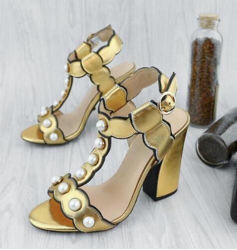 Fashion Pearl Decor Leather Dress Sandals Women T-Strap Mixed-color Lady Gladiator Sandals Sexy Chunky Heel Summer Sandals Shoes
